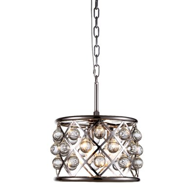 Morion 3-Light Metal Drum Pendant Finish: Polished Nickel