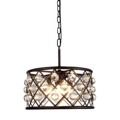 Morion Transitional 4-Light Crystal Drum Pendant Finish: Polished Nickel