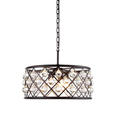 Morion 5-Light Crystal Drum Pendant Finish: Polished Nickel