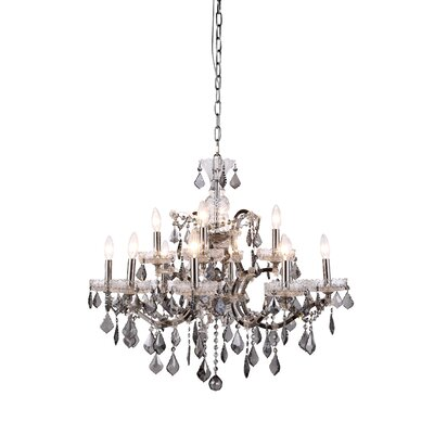 Newell 12-Light Crystal Chandelier Shade Color: Grey, Finish: Raw Steel