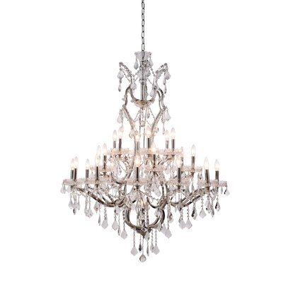 Newell 25-Light Crystal Chandelier Finish: Rustic Intent, Shade Color: Grey