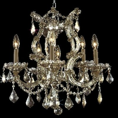 Regina 6-Light Crystal Chandelier Finish / Crystal Color / Crystal Trim: White / Golden Teak (Smoky) / Royal Cut