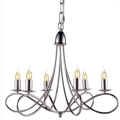 Diaz 6-Light Candle-Style Chandelier Finish: Polished Nickel