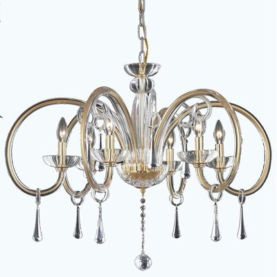 Scroll 6-Light Candle-Style Chandelier Finish: Chrome