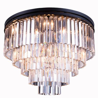 Lavinia 17-Light Flush Mount Finish: Polished Nickel, Crystal Color: Golden Teak (Smoky)