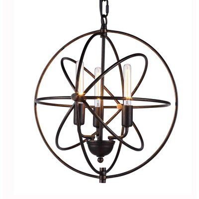 Hamby 3-Light Globe Pendant Finish: Dark Bronze