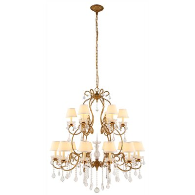 Merissa 18-Light Shaded Chandelier Finish: Vintage Silver
