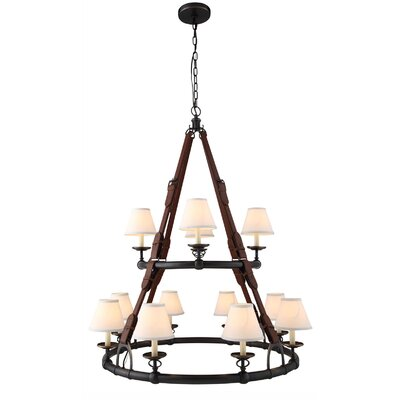 Slater 12-Light Shaded Chandelier Finish: Burnished Brass