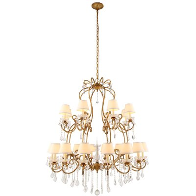 Merissa 24-Light Shaded Chandelier Finish: Golden Iron