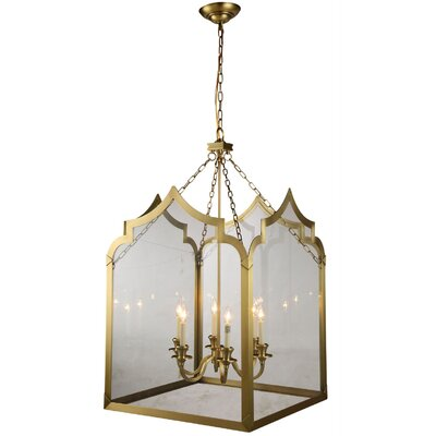 Newport 6-Light Foyer Pendant Finish: Burnished Brass