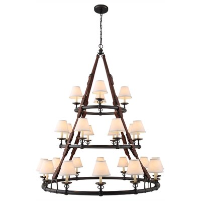 Slater 24-Light Shaded Chandelier Finish: Bronze