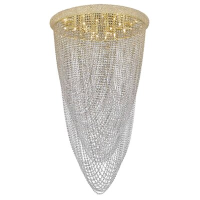 Primo 20-Light Flush Mount Crystal Grade: Spectra Swarovski, Finish: Gold