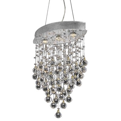 Pellerin 3-Light Crystal Pendant Crystal: Elegant-Cut