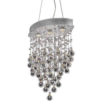 Pellerin 3-Light Crystal Pendant Crystal: Swarovski Strass