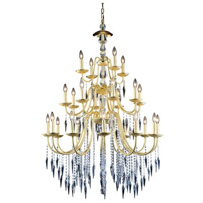 Rana Traditional 24-Light Candle-Style Chandelier Finish: Polished Gold