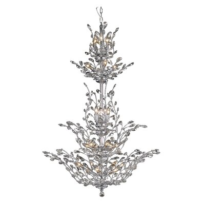 Lamons 25-Light Crystal Chandelier Finish: Chrome, Crystal Grade: Swarovski Strass