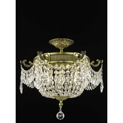 Ursula 3-Light Semi-Flush Mount Crystal Grade: Elegant Cut