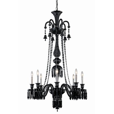 Majestic 8-Light Crystal Chandelier Crystal Color: Jet Black