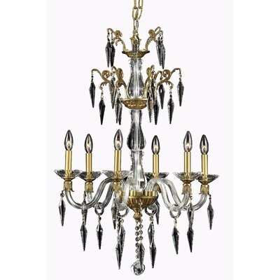 Shaina 6-Light Crystal Chandelier Finish: French Gold