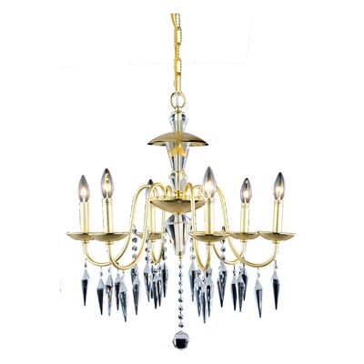 Rana 6-Light Crystal Chandelier Finish: Polished Gold