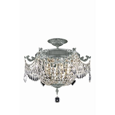 Ursula Glam 3-Light Semi-Flush Mount Color: Dark Bronze, Crystal Grade: Royal Cut