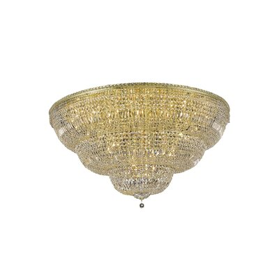 Fulham 48-Light Tapered Layers Flush Mount Finish: Chrome, Crystal Grade: Elegant Cut