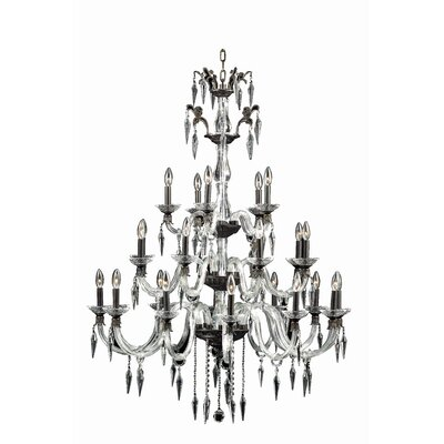 Shaina 25-Light Metal/Glass Candle-Style Chandelier