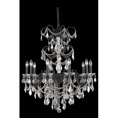 Cherie 10-Light Traditional Chain Crystal Chandelier Crystal Grade: Elegant Cut
