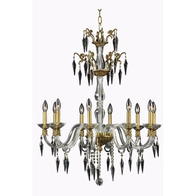 Shaina 10-Light Chain Candle-Style Chandelier Finish: Pewter