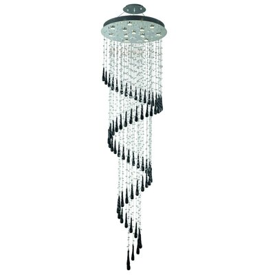 Hensler 12-Light Crystal Chandelier Crystal Color: Black
