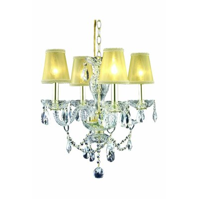 Rochelle Traditional 4-Light Crystal Chandelier Finish: Gold
