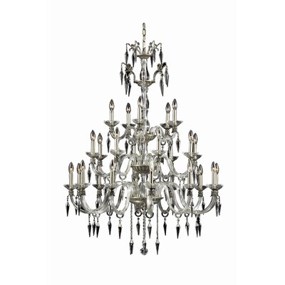 Grande 25-Light Candle-Style Chandelier Finish: Pewter