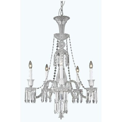 Leonardo 5-Light Crystal Chandelier Finish: Chrome, Crystal Color: Clear