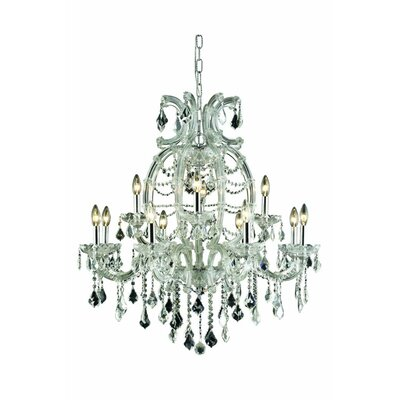 Regina Traditional 12-Light Crystal Chandelier Finish: Chrome, Crystal Grade: Elegant Cut