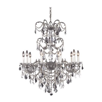 Athena 10-Light Crystal Chandelier Crystal Grade: Royal Cut, Finish: Pewter