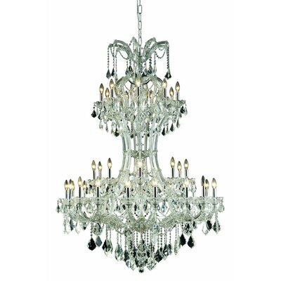 Regina Traditional 36-Light Crystal Chandelier Finish: Chrome, Crystal Grade: Elegant Cut