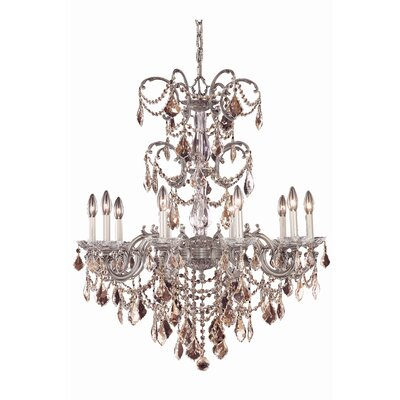 Cherie 10-Light Metal Crystal Chandelier