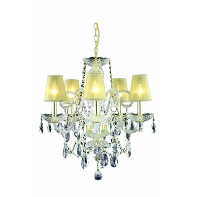 Rochelle 5-Light Candle-Style Chandelier Finish: Gold
