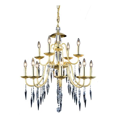 Rana Traditional 12-Light Candle-Style Chandelier Finish: Polished Silver