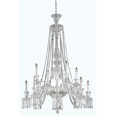 Leonardo Traditional 12-Light Chrome Crystal Chandelier