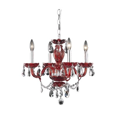 Rochelle Royal Cut 4-Light Candle-Style Chandelier Finish: Purple