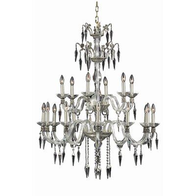 Shaina 18-Light Chain Candle-Style Chandelier Finish: Pewter