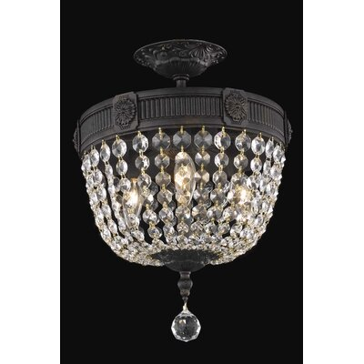 Ursula 3-Light Dark Bronze Semi-Flush Mount Crystal Grade: Swarovski Element