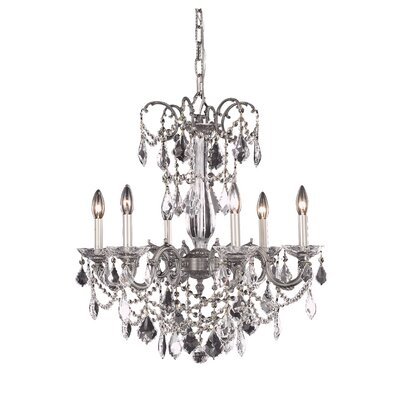 Athena 6-Light Crystal Chandelier Crystal Grade: Elegant Cut, Finish: Pewter