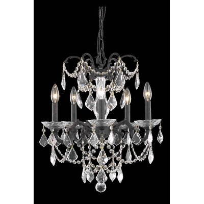 Athena 5-Light Candle-Style Chandelier Finish: Pewter, Crystal Grade: Spectra Swarovski