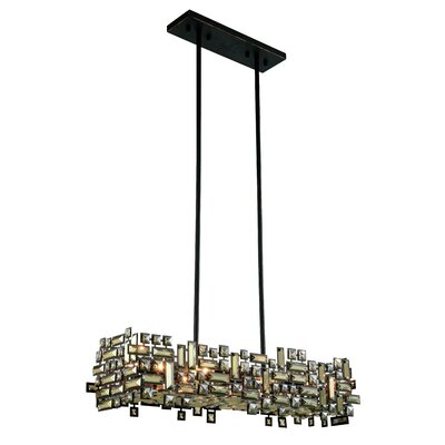 Nancee 6-Light Kitchen Island Pendant Finish: Dark Bronze/Golden Teak