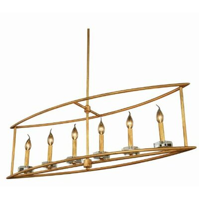 Simental Transitional 6-Light Kitchen Island Pendant Finish: Golden Iron