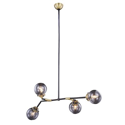 Roman 4-Light Cluster Pendant Finish: Burnished Brass&Flat Black