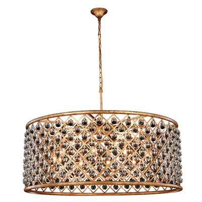 Morion 10-Light Golden Iron Drum Pendant