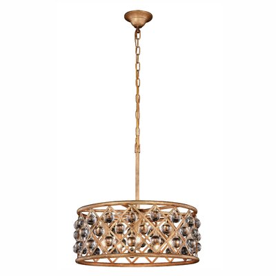 Morion 5-Light Golden Iron Drum Pendant